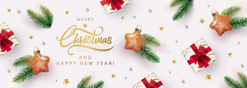Baner świąteczny Xmas projekt tła z zabawką w kształcie gwiazdy, realistyczne pudełko na prezenty, fir gałęzi, błyszczący złoty k ilustracja wektor