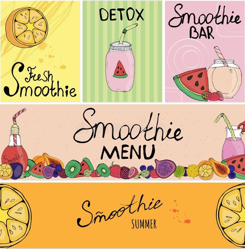 Baner affärskort, reklamblad, härlig bakgrund, detox, strikt vegetarian, bokstäver, frukt, bordsservis för smoothies som förpacka vektor illustrationer