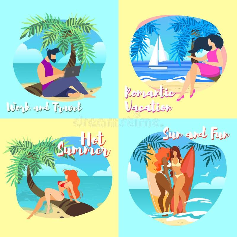 Baner arbetar och reser, varm sommar, solen och gyckel royaltyfri illustrationer