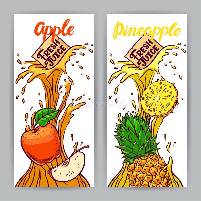 Baner av äpple- och ananasfruktsaft vektor illustrationer