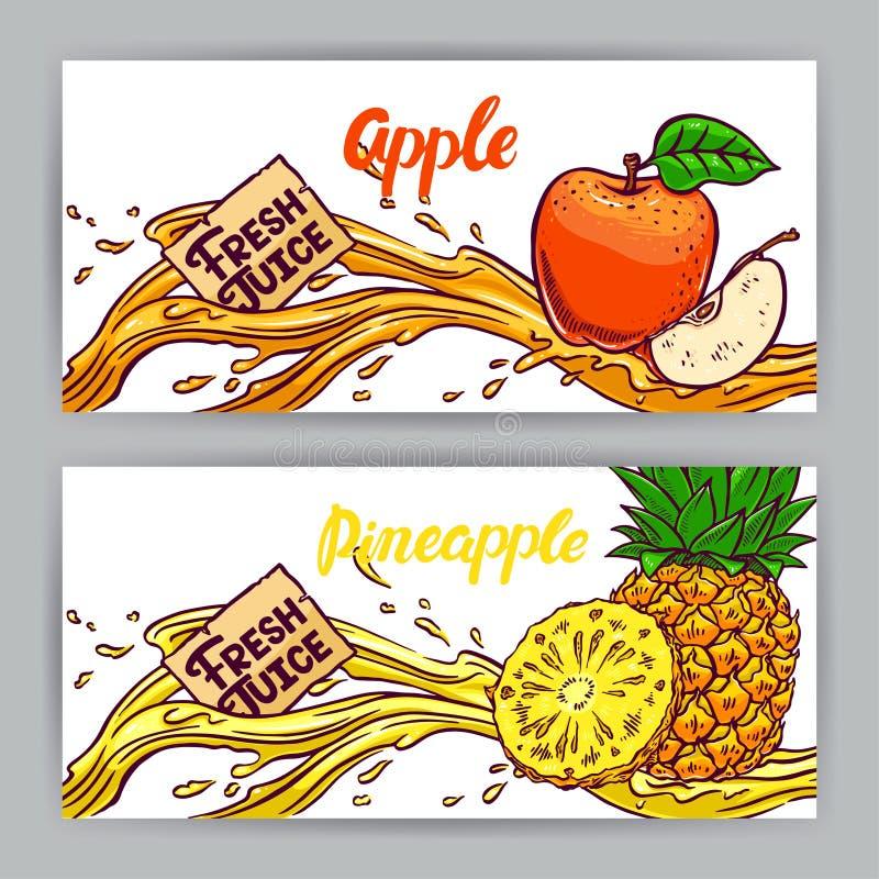 Baner av äpple- och ananasfruktsaft royaltyfri illustrationer