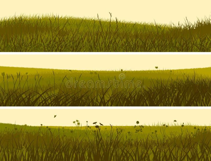 Baner av abstrakt änggräs. royaltyfri illustrationer