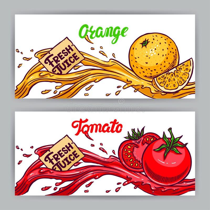 Baner av apelsin- och tomatfruktsaft stock illustrationer