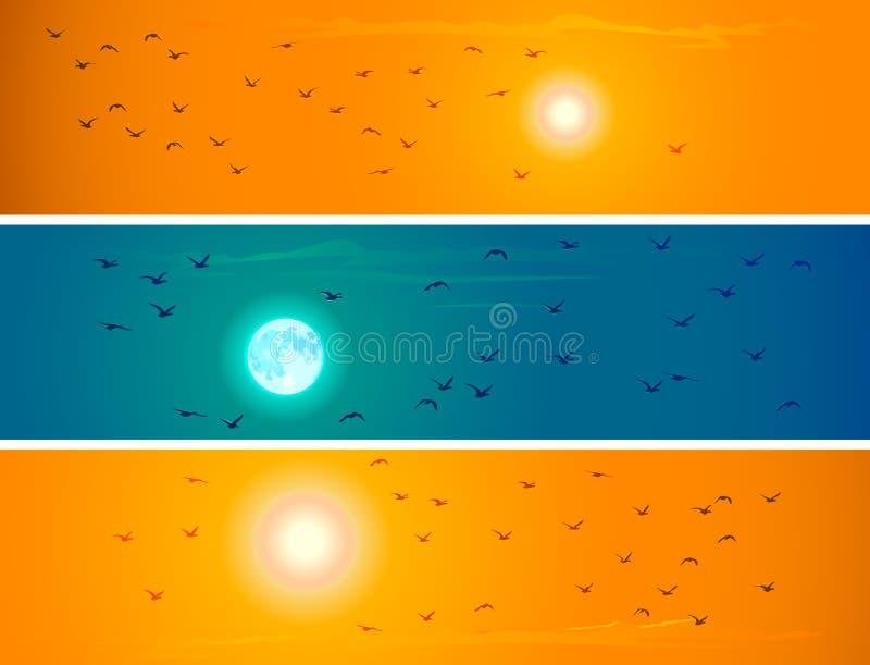 Baner av flygfåglar mot orange solnedgång och månen. royaltyfri illustrationer