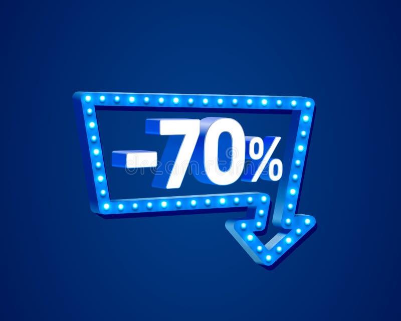 Baner 70 av med aktierabattprocentsatsen, neonskyltpil vektor illustrationer
