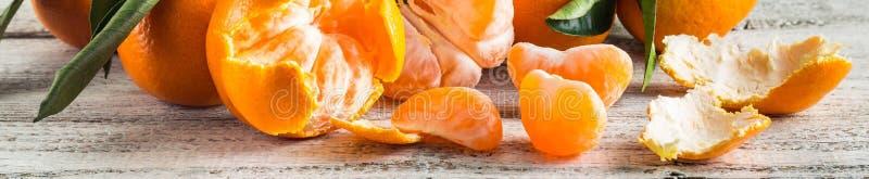 Baner av orange tangerin med gröna sidor på vit träbakgrund Skalade mandarinskivor arkivbilder