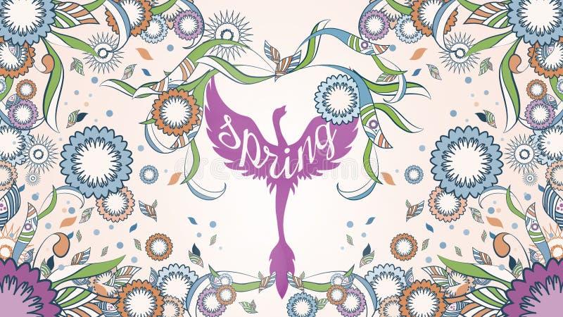 Baner av Phoenix med utsmyckat på en abstrakt blom- dekorativ vårram på bakgrunden vektor illustrationer