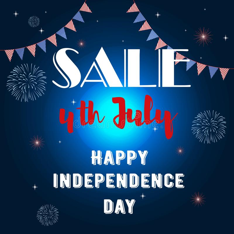 Baner av självständighetsdagen 4th juli stock illustrationer