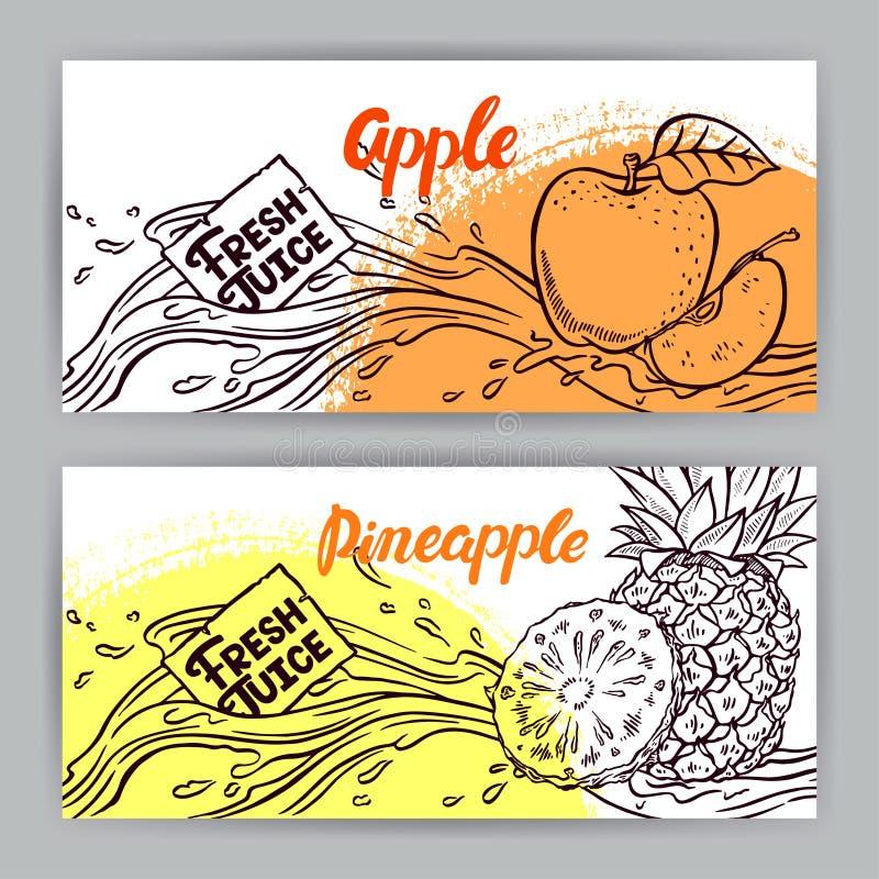 Baner av skissar äpple- och ananasfruktsaft royaltyfri illustrationer