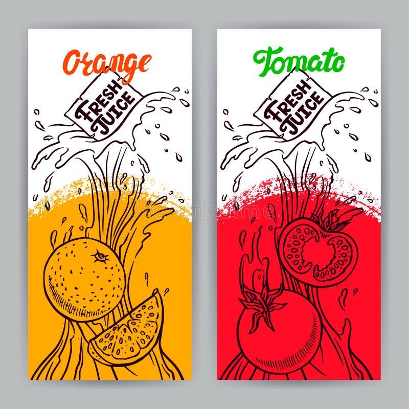 Baner av skissar tomaten och orange fruktsaft royaltyfri illustrationer