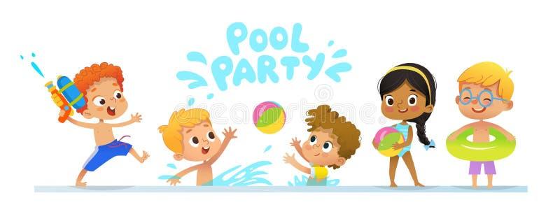 Baner de la plantilla de la invitación de la fiesta en la piscina Los niños multirraciales se divierten en piscina Muchacho del p libre illustration