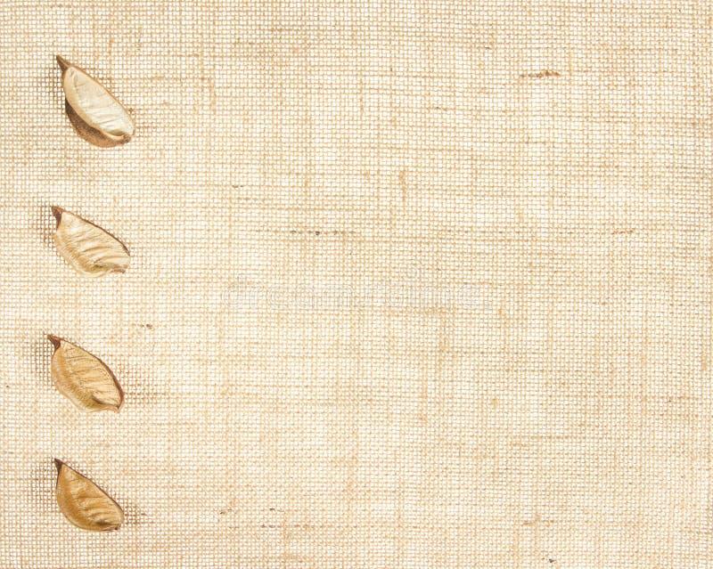 Baner della tela di sacco con i fogli come decorazione. fotografie stock