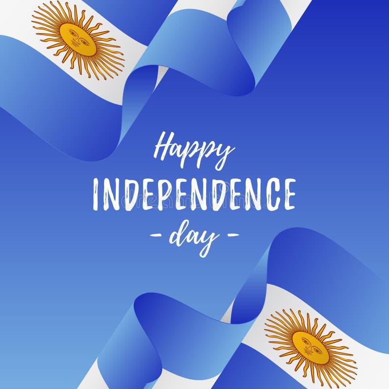 Baner eller affisch av Argentina självständighetsdagenberöm vektor för stil argentina för tillgänglig flagga glass också vektor f stock illustrationer