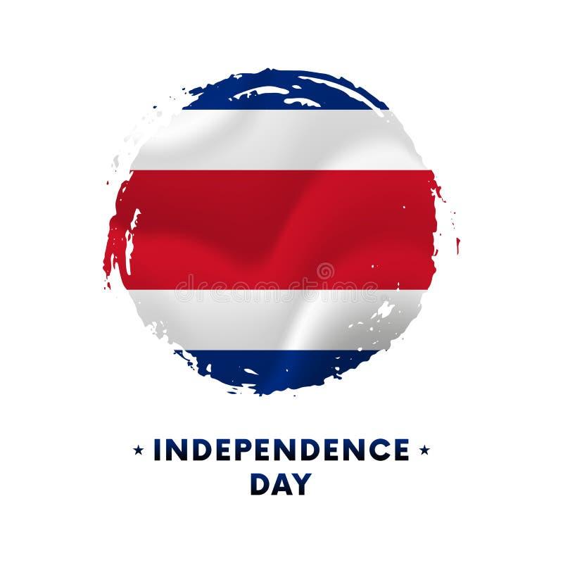 Baner eller affisch av Costa Rica självständighetsdagenberöm Vinkande flagga av Costa Rica, borsteslaglängdbakgrund Vektorillustr stock illustrationer