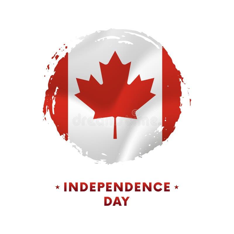 Baner eller affisch av Kanada självständighetsdagenberöm Vinkande flagga av Kanada, borsteslaglängdbakgrund också vektor för core vektor illustrationer