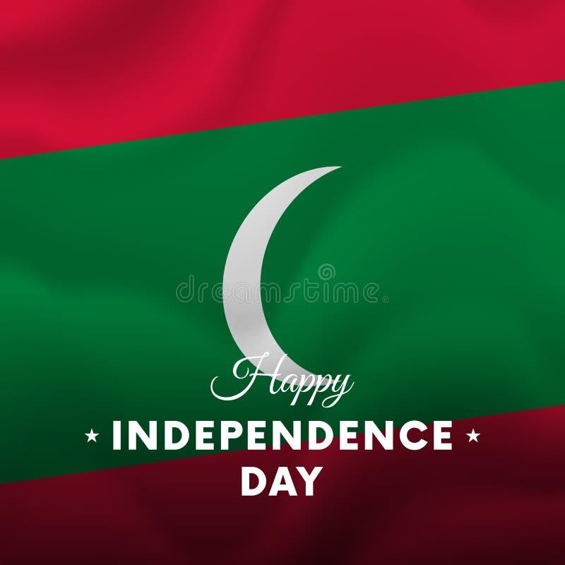 Baner eller affisch av Maldiverna självständighetsdagenberöm Våg flagga vektor royaltyfri illustrationer