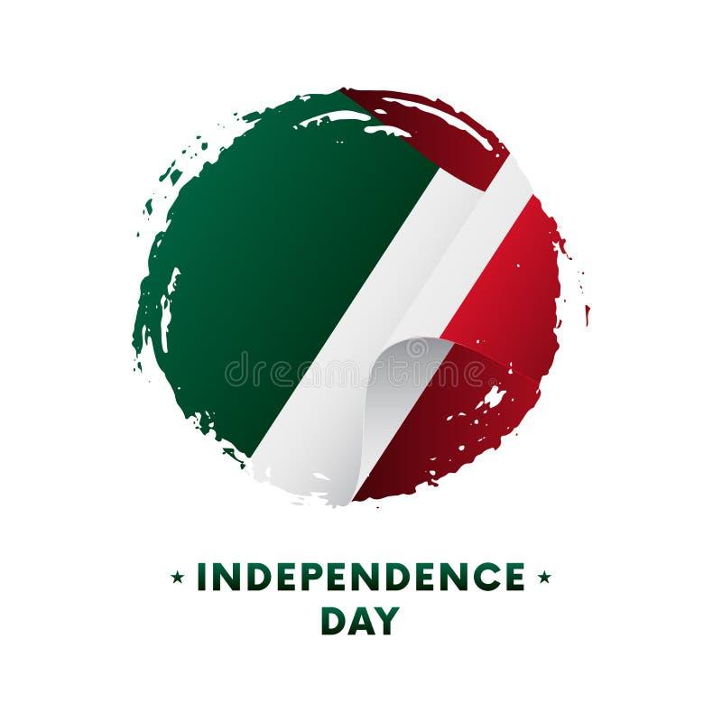 Baner eller affisch av Mexico självständighetsdagenberöm Vinkande flagga av Mexico, borsteslaglängdbakgrund också vektor för core vektor illustrationer