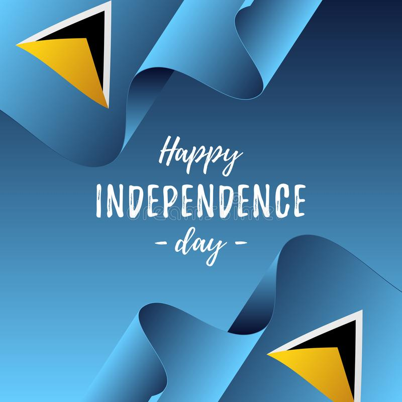 Baner eller affisch av St Lucia självständighetsdagenberöm flaggalucia saint också vektor för coreldrawillustration stock illustrationer