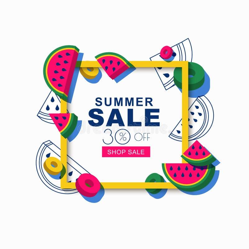 Baner eller affisch för sommarförsäljningsvektor med ramen och vattenmelon 3d Orientering för rabattetiketter, reklamblad och sho stock illustrationer