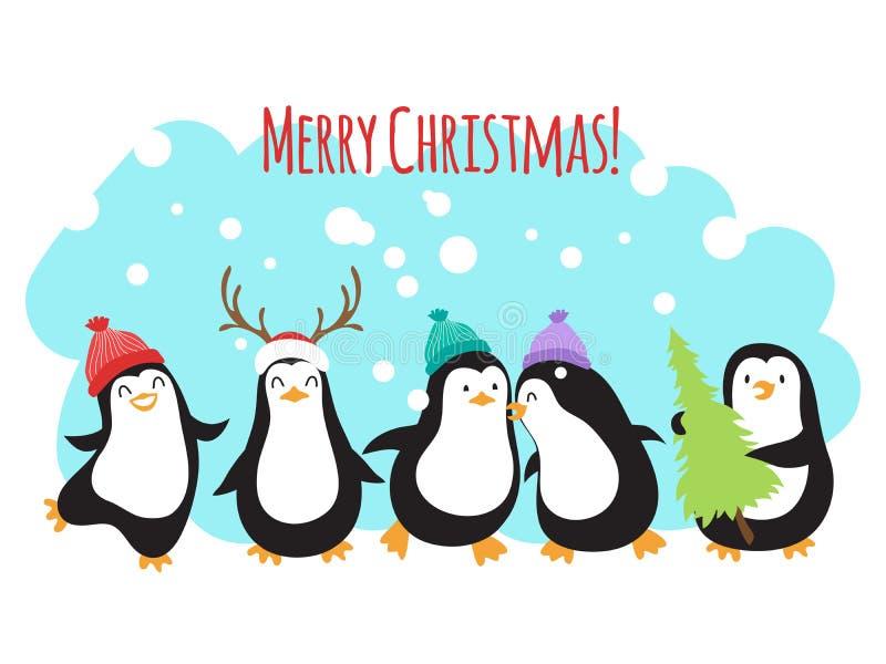 Baner eller bakgrund för hälsning för vektor för julvinterferier med gulliga tecknad filmpingvin royaltyfri illustrationer