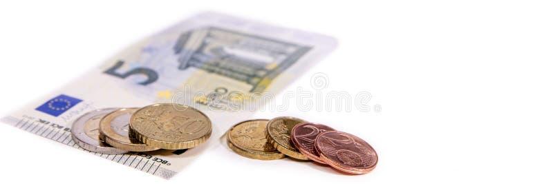 Baner eller titelrad, eurovaluta på vit, ny minimilön i ge arkivfoto