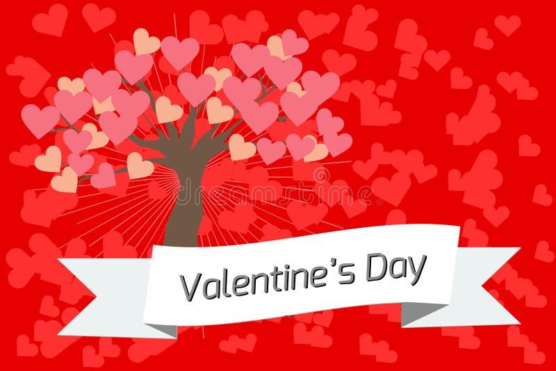 Baner- eller valentin dagkort med trädet av förälskelse på en röd bakgrund vektor illustrationer