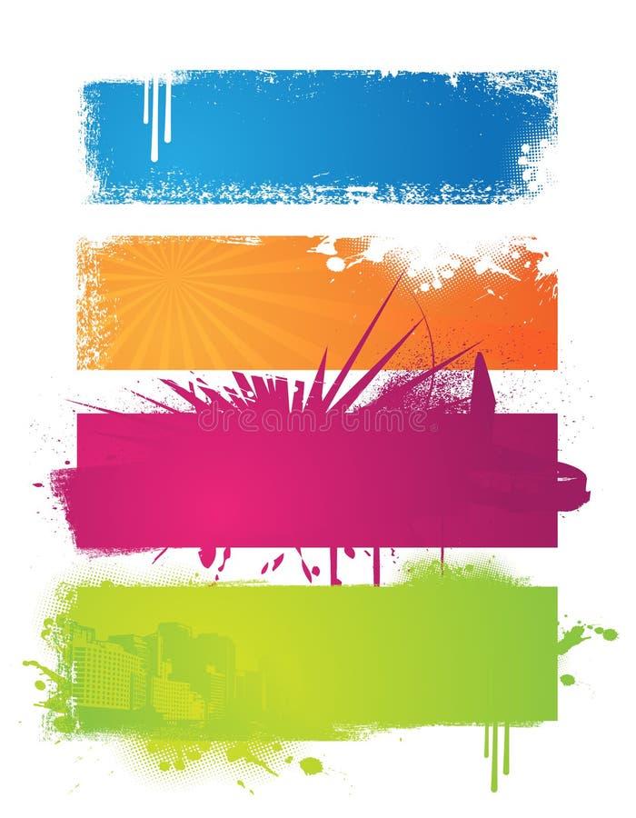 baner färgad set vektor illustrationer