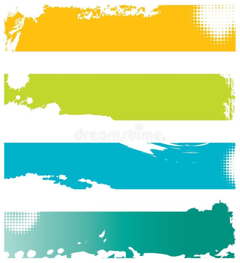 baner färgade grunge fyra vektor illustrationer