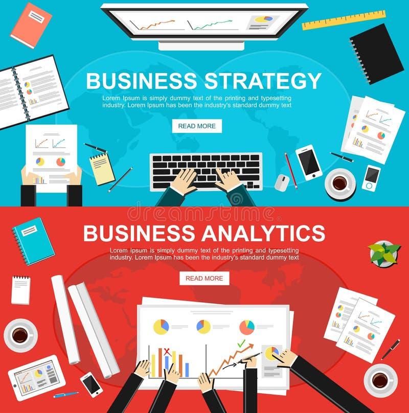 Baner för affärsstrategi och affärsanalytics Plana designillustrationbegrepp för affären, finans, ledning, analys vektor illustrationer