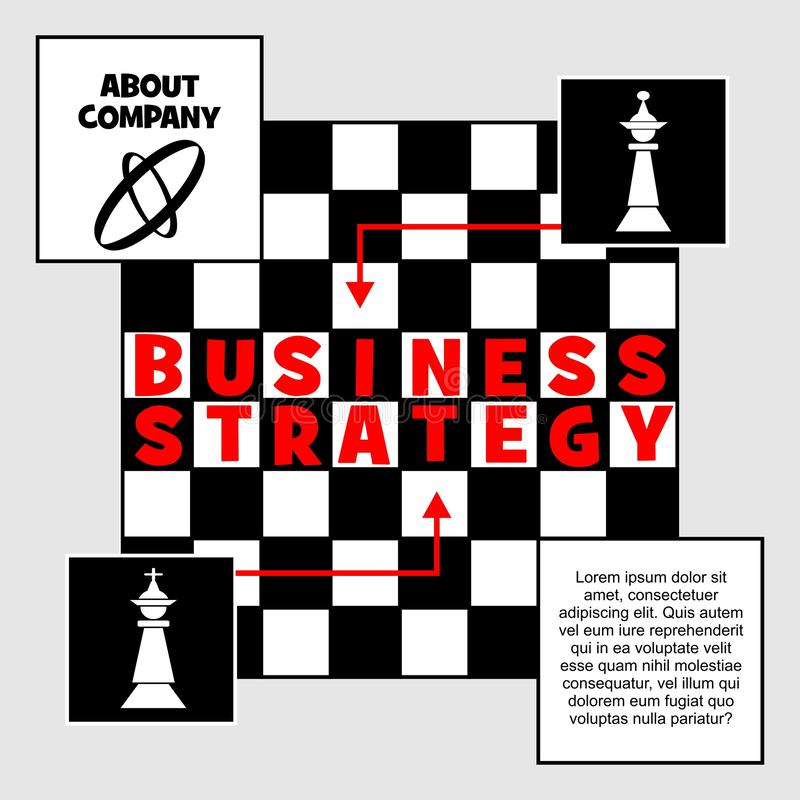 Baner för affärsstrategi Schackmetafor med den konungdiagramet och schackbrädet Förlägga för egen text, företagspresentation Rött royaltyfri illustrationer