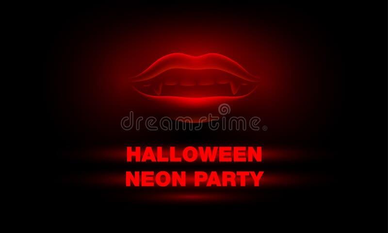 Baner för allhelgonaaftonneonparti med rött neon och glödande vampyrmun på en svart bakgrund vektor illustrationer