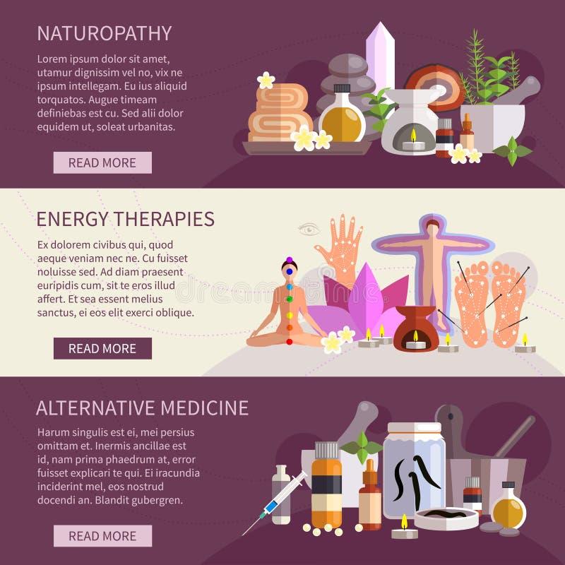 Baner för alternativ medicin vektor illustrationer