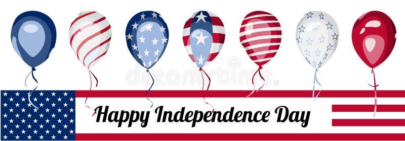 Baner för Amerika självständighetsdagenvektor royaltyfri illustrationer