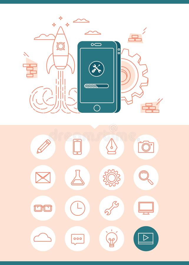 Baner för App-utvecklingsbegrepp med en uppsättning av släkta symboler royaltyfri illustrationer