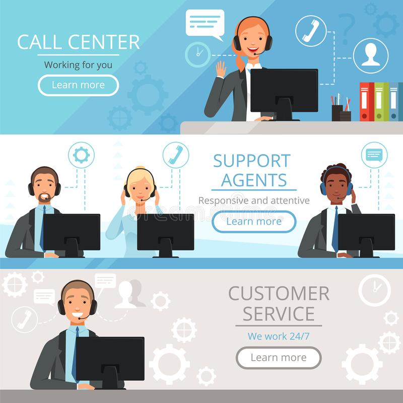 Baner för appellmitt Illustrationer för tecknad film för vektor för operatörer för telefon för kundtjänst för servicemedeltecken  vektor illustrationer