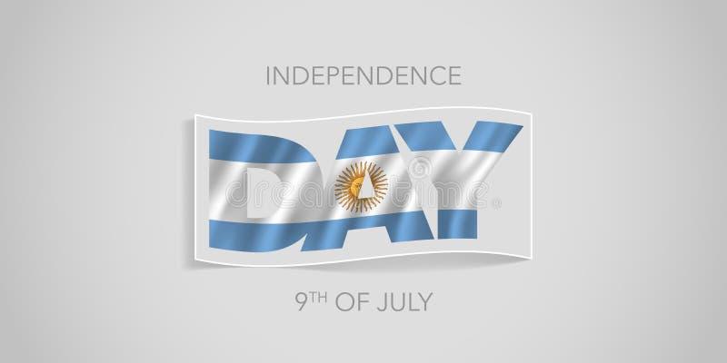 Baner för Argentina lyckligt självständighetsdagenvektor, hälsningkort royaltyfri illustrationer
