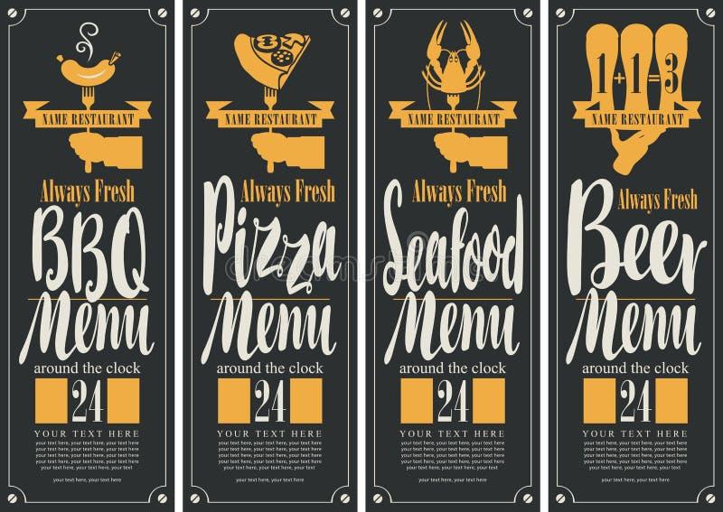 Baner för B--B-Qmenyn, pizzameny, havs- meny, ölmeny stock illustrationer