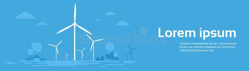 Baner för bakgrund för natur för resurs för utveckling för alternativ energi för vindstation vektor illustrationer