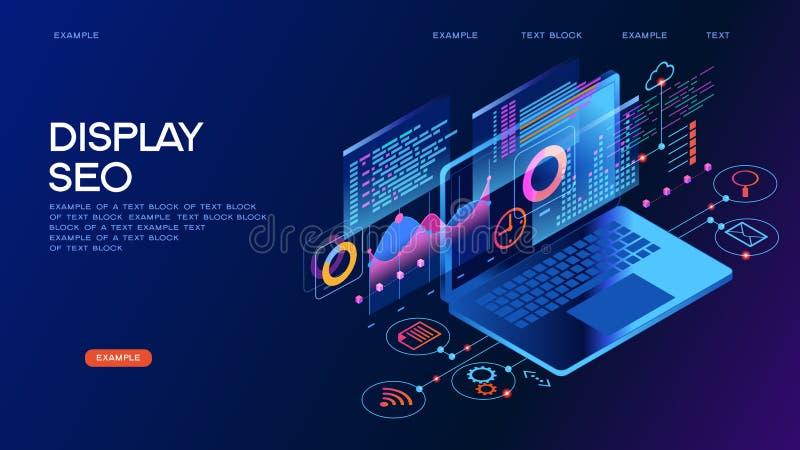 Baner för begrepp för affärsteknologiledning isometriskt stock illustrationer