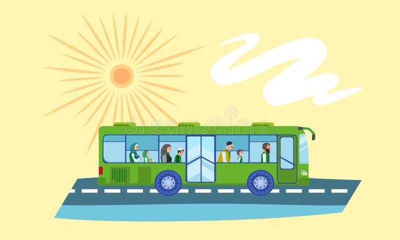 Baner för begrepp för bussflyktingfolk, plan stil royaltyfri illustrationer
