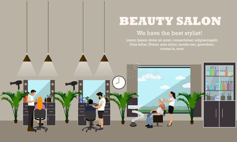 Baner för begrepp för vektor för skönhetsalong inre Studio för design för hårstil Kvinnor i frisyratelier stock illustrationer