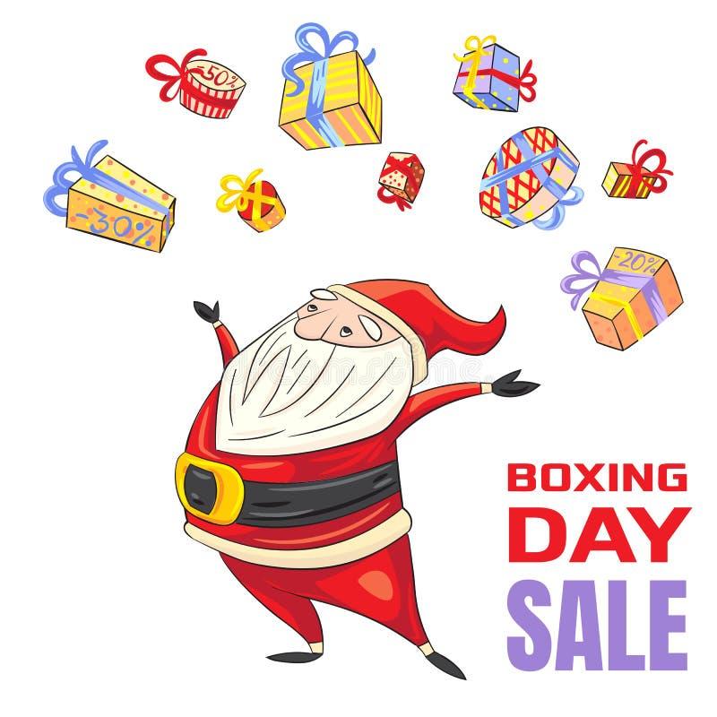 Baner för begrepp för försäljning för boxningdag, tecknad filmstil vektor illustrationer