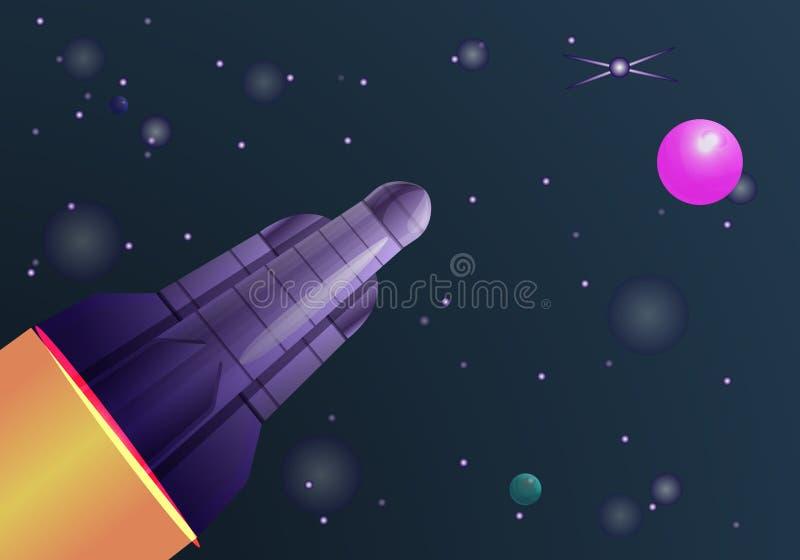 Baner för begrepp för fluga för utrymmeraket, tecknad filmstil stock illustrationer
