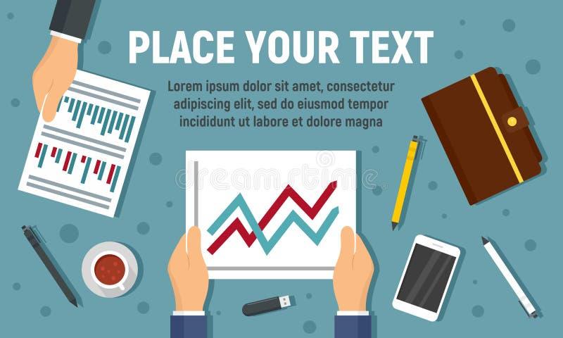 Baner för begrepp för plan för affärsmöte, plan stil stock illustrationer
