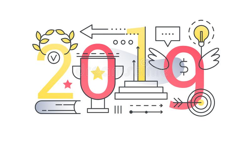 Baner för begrepp för sammansättning för ord för framgång 2019 moderiktigt Översiktsslaglängdsport, affärsframgång och finansiell vektor illustrationer