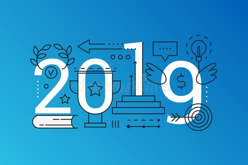 Baner för begrepp för sammansättning för ord för framgång 2019 moderiktigt Skissera slaglängdframgånglösningen, ledarskap, vision stock illustrationer
