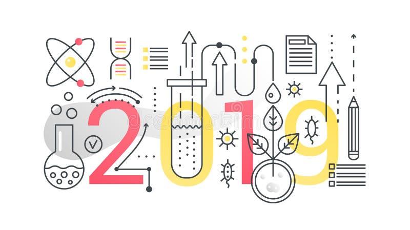 Baner för begrepp för sammansättning för ord för vetenskap 2019 moderiktigt Översiktsslaglängdteknologi, teknik, fysik, modern ut royaltyfri illustrationer