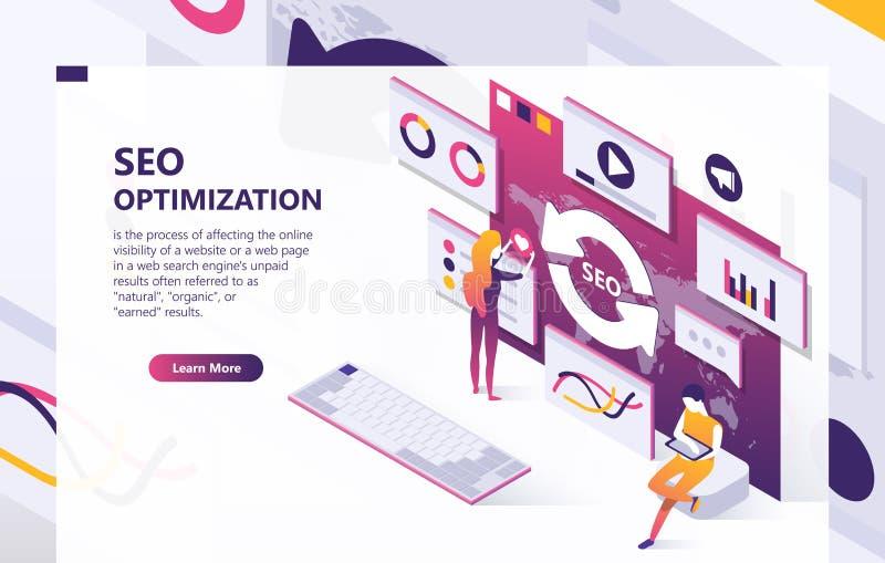 Baner för begrepp för SEO-optimizationvektor isometriskt royaltyfri illustrationer
