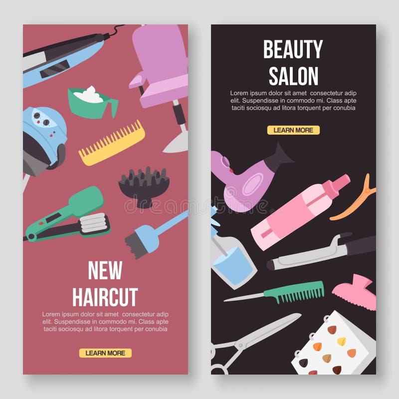 Baner för begrepp för vektor för hjälpmedel för skönhetsalong Frisyr härlig manikyr och att utgöra atelieren Kvinnor i brunnsort  stock illustrationer
