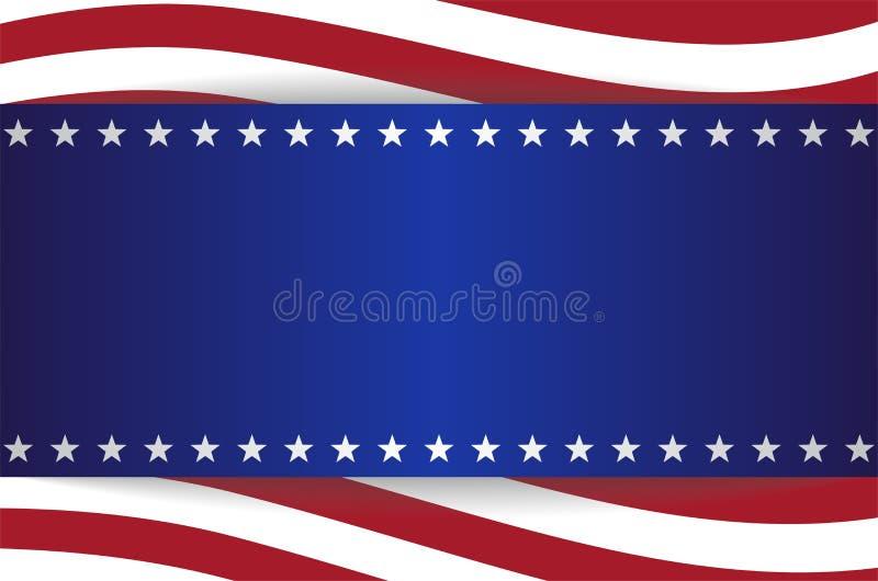 Baner för beståndsdelar för band för bakgrund för USA stjärnaflagga royaltyfri illustrationer